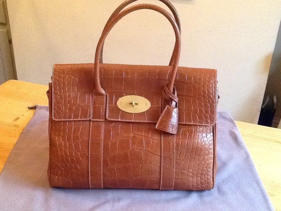 88e87de1e9 Genuine Mulberry Bayswater Handbag BRAND NEW Tan Leather Croc print ideal  for a special present