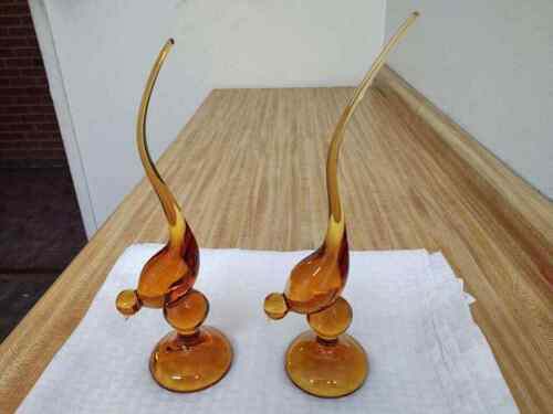 Vintage Viking glass long tail? birds; amber colored pair.