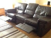 Leather 3 seater sofa twin recliners and chair