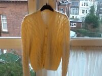 Hand knitted cream wool Aran/cable cardigan new