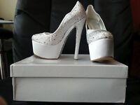 Size 2 1/2 white gem heels