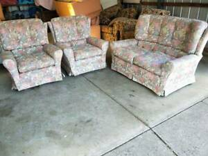3 Piece Lounge Suite Floral 2 Seater 2 Arm Chairs Sofa Comfortable