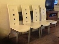 4 leather and metal high back dining chairs (table if wanted)