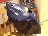 Yamaha xj6 diversion tank cover in blue with clip on baglux tank bag
