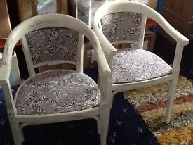 Pair of Vintage Carver Chairs Upcycled Shabby Chic