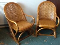 2 Conservatory/Bedroom/Lounge Wicker/Cane Chairs