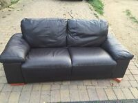 Brown leather sofa. Good condition.