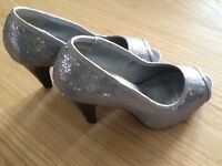 Silver Sequinned Court Shoes - Size 4 (Wallis)
