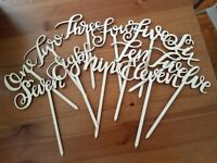 12 Wooden Table Numbers