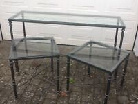 Stylish Metal and Glass Console Table with two matching Side Tables