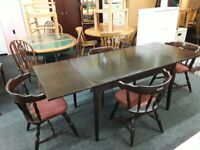 Extending farmhouse dining table 4 Carvers LOW COST MOVES 2nd Hand Furniture STALYBRIDGE SK15 3DN