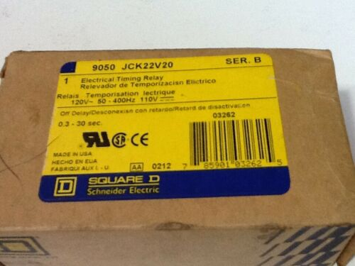 Square D 9050 JCK22V20  Ser. B  Electrical Timing Relay On-Delay 0.3-30sec. 120V
