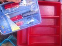 kitchen utensils, draw and glasses