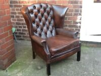 CHESTERFIELD QUEEN ANNE CHAIR ANTIQUE BROWN LEATHER £275 CAN DELIVER