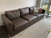 Ikea sofa Vimle in brown leather