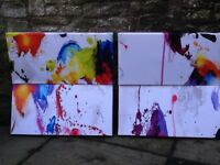 4 Brand new Abstract Modern Art Stretched Canvas Prints over Wooden Frame 60 cms X 30 cms