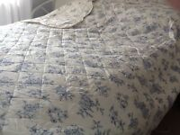Lovely new Quilted bed throw in cotton blue and off white