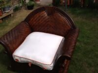 Bambo wooden arm chairs x2
