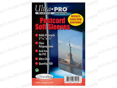 "100 ULTRA PRO POSTCARD SOFT SLEEVES Premium 3-11/16"" X 5-3/4"" New Free Shipping"