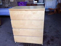 Ikea Malm Beach 4 Drawer Chest of Drawers