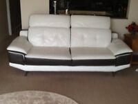 White lether sofa chair and footstool in white leather