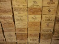 Vintage wooden apple crates / Bushel boxes and French wooden wine boxes / champagne and port boxes