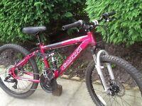 Carrera sol.24 disc brake dual suspension girls mountain bike