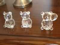Set of 3 crystal teddies, one with present, one with heart and other with balloon