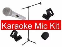 Microphone Bundle Karaoke Mic Stand Clips And Windshield