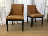 Pair (2) of Leather and Wood Dining or Occasional Chairs from West Elm