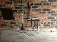 AS NEW GARDEN FORK, GRASS RAKE and DIBBLE