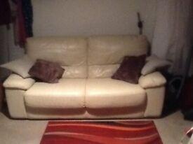 Cream leather 2 seater sofa ( good condition)