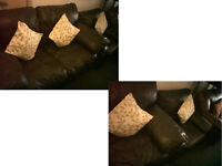 DFS Black leather 2 seater and chair Ultimate comfort very modern DETAILS BELOW