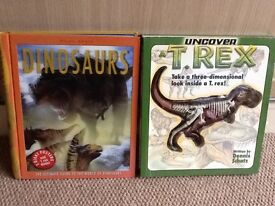 Dinosaur books with T. rex model, posters and more, excellent condition