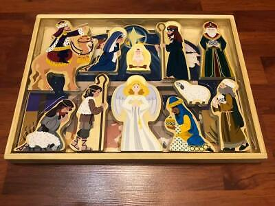 MELISSA & DOUG Wooden Nativity Set ~ Never Used ~ New In Wooden Box