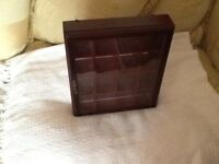 SMALL DARK WOOD DISPLAY CABINET