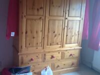 Large double pine wardrobe with doors