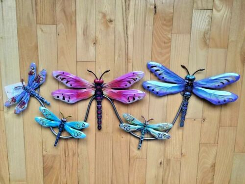 Dragonfly Metal Wall Hanging Decor Plaque Garden Fence 27 inches w Dragonflies