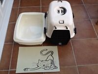 Cat/small animal carrier and litter tray and plastic mat