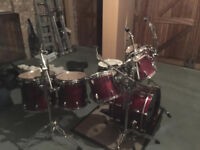 Drums and cymbals, 8 piece, Drum World, rock kit, mahogany red.