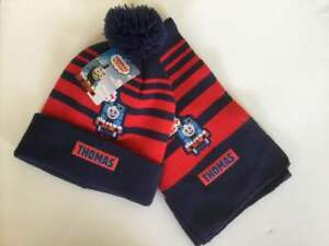 Boys Thomas the Tank Engine Knitted Bobble Hat Scarf Set ONLY 2-6Y