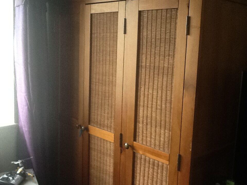 Large 3 Door Wardrobe With Rattan Effect Doors W46x 70
