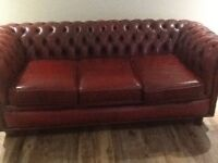 Vintage Chesterfield real leather sofa