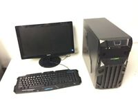 Custom Built Gaming Computer PC, Complete with Monitor (Intel Quad Core, 4GB RAM, GT 740 Graphics)