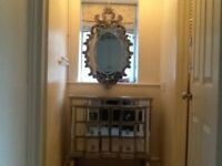 Mirrored chest of 6 drawers ,wall mirror , wall lights,mirrored tissue holder