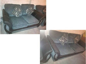 3 SEATER AND 2 SEATER FABRIC AND SUEDE SOFAS BLACK AND GREY IN COLOUR ULTIMATE COMFORT AND MODERN