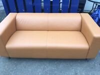 PAIR OF IKEA TWO SEATER SOFA'S IN CAREMEL EXCELLENT CONDITION.