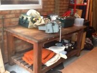 Engineers' wooden workbench 6' X 3' with vice and shelf underneath