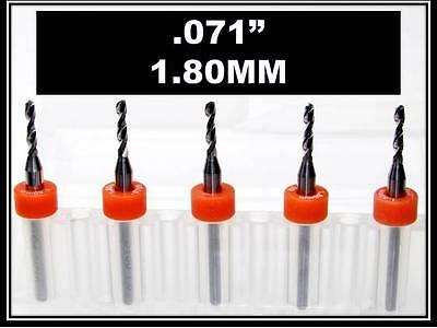 .071 - 1.80mm - 18 Shank Carbide Drill Bits Five Pcs Wood Plastic Metal Cnc R