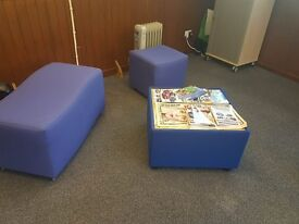 fabric bench / stool set. Can be used for home or office. Matching table